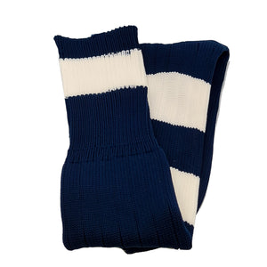 Big Stripes Football Rugby Premium Socks - Made In UK - NAVY/WHITE - MENS ( UK 6-8)