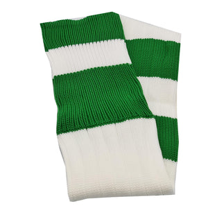 Big Stripes Football Rugby Premium Socks - Made In UK - WHITE/BOTTLE GREEN - MENS ( UK 6-8)