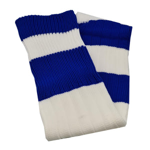 Big Stripes Football Rugby Premium Socks - Made In UK - WHITE/BLUE - JUNIOR ( UK 13-5)