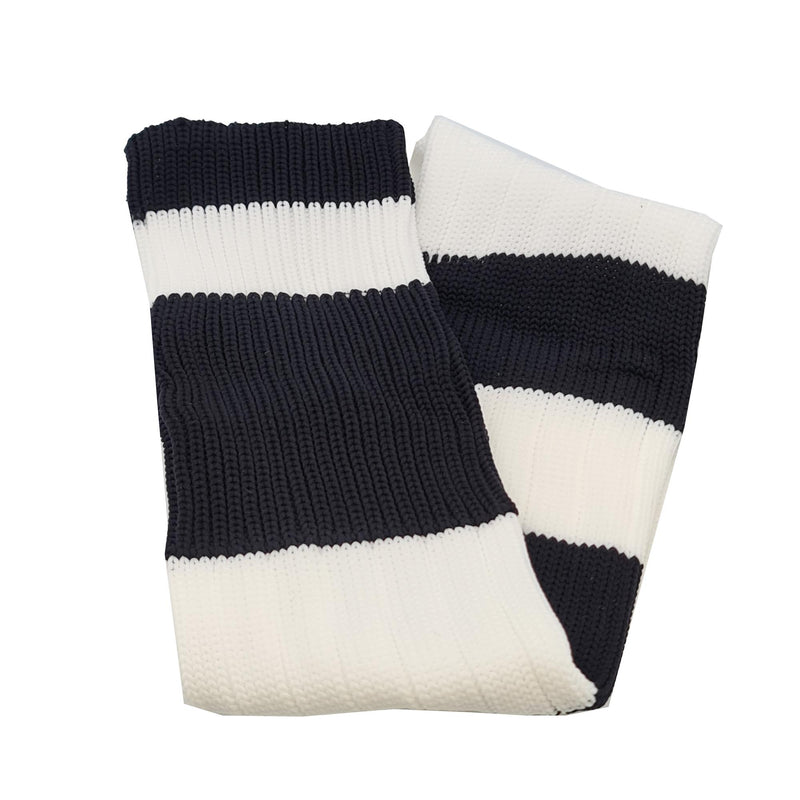 Big Stripes Football Rugby Premium Socks - Made In UK - WHITE/BLACK - JUNIOR ( UK 13-5)