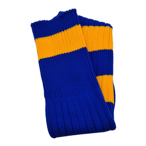 Big Stripes Football Rugby Premium Socks - Made In UK - ROYAL/YELLOW - JUNIOR ( UK 13-5)