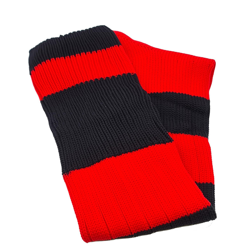 Big Stripes Football Rugby Premium Socks - Made In UK - RED/BLACK - MENS ( UK 6-8)