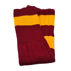 Big Stripes Football Rugby Premium Socks - Made In UK - BURGUNDY/YELLOW - MENS ( UK 6-8)