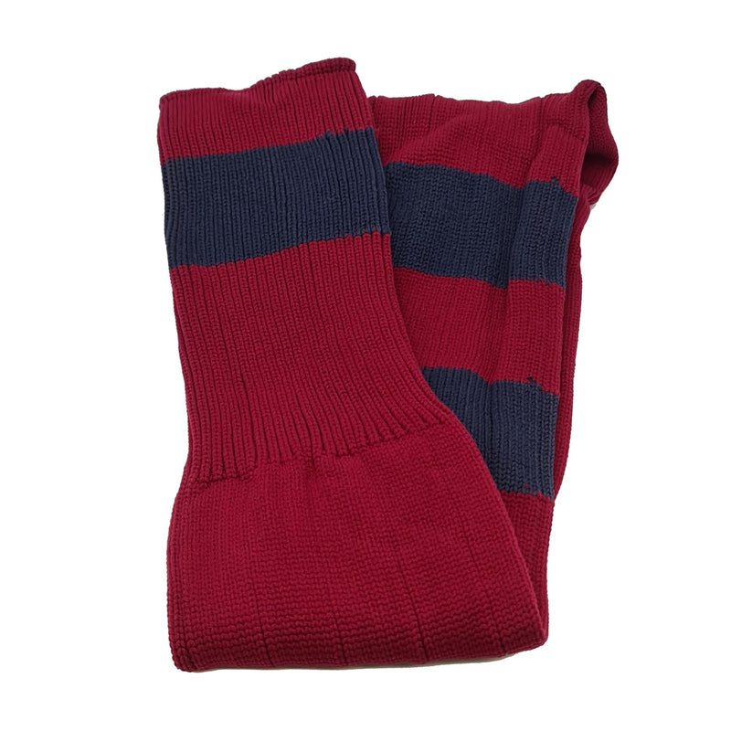 Big Stripes Football Rugby Premium Socks - Made In UK - BURGUNDY/NAVY - MENS ( UK 9-12)