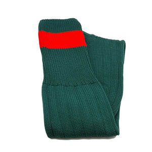 Big Stripes Football Rugby Premium Socks - Made In UK - BOTTLE GREEN/RED - MENS ( UK 6-8)