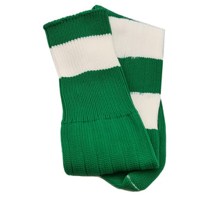 Big Stripes Football Rugby Premium Socks - Made In UK - BOTTLE GREEN - MENS ( UK 6-8)