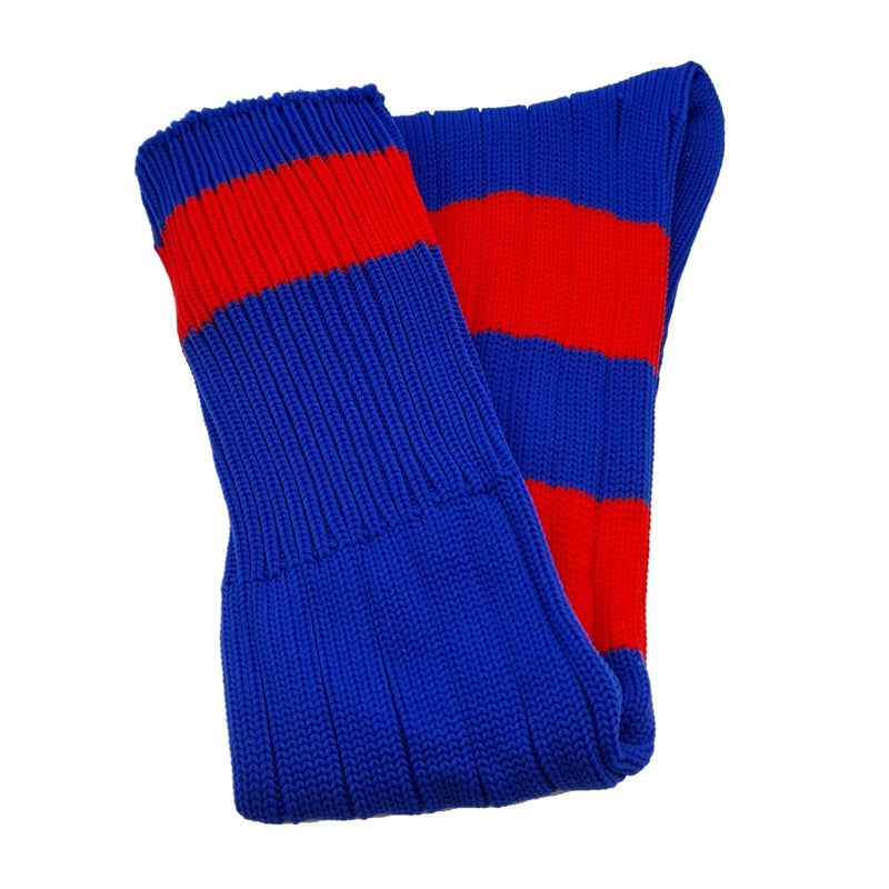 Big Stripes Football Rugby Premium Socks - Made In UK - BLUE/RED - JUNIOR ( UK 13-5)