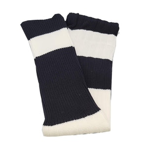 Big Stripes Football Rugby Premium Socks - Made In UK - BLACK/WHITE - MENS ( UK 6-8)