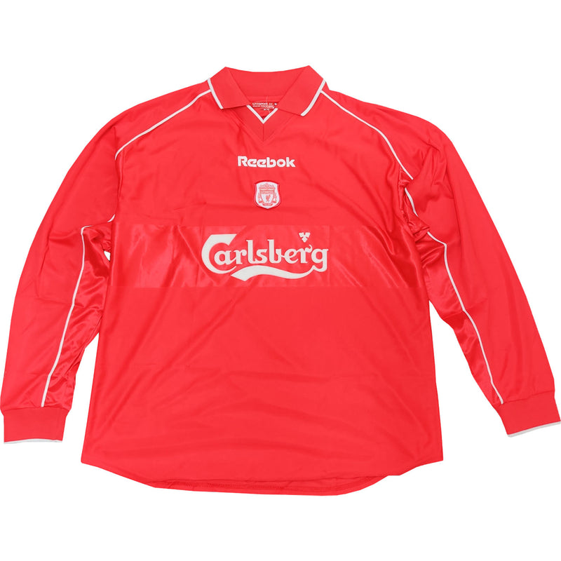 Liverpool Mens Retro Original 2000-2002 Long Sleeved Home Shirt - Large