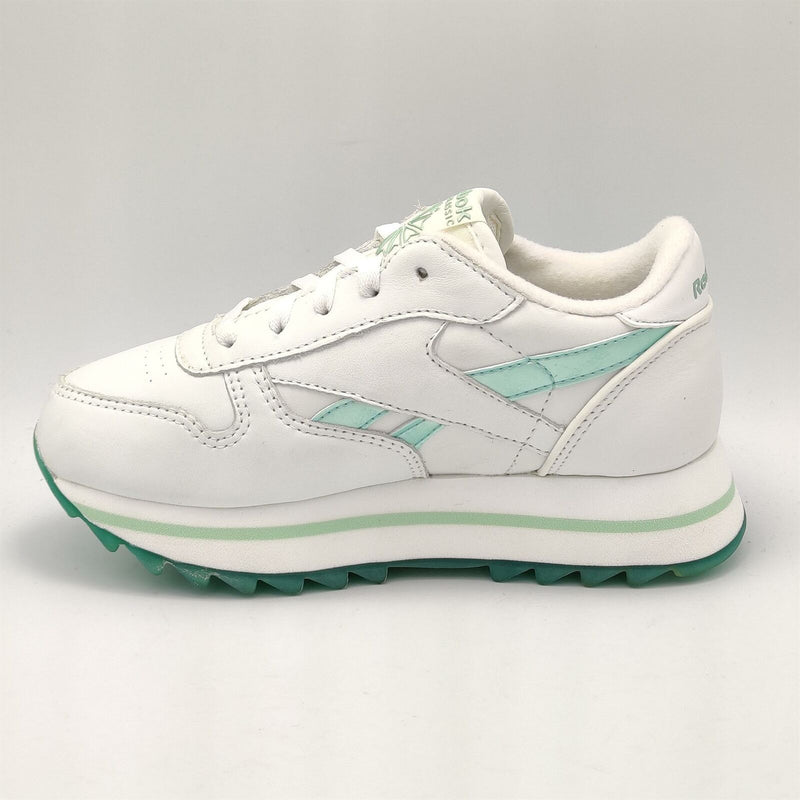 Reebok Infant Classic Leather Pearlised Retro Trainers - White/Green - UK K12.5