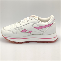 Reebok Junior Classic Leather Double Retro Trainers - White/Pink - UK 3.5