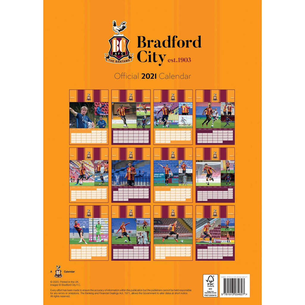 Bradford City Official A3 Supporters 2021 Calendar - RRP £9.99
