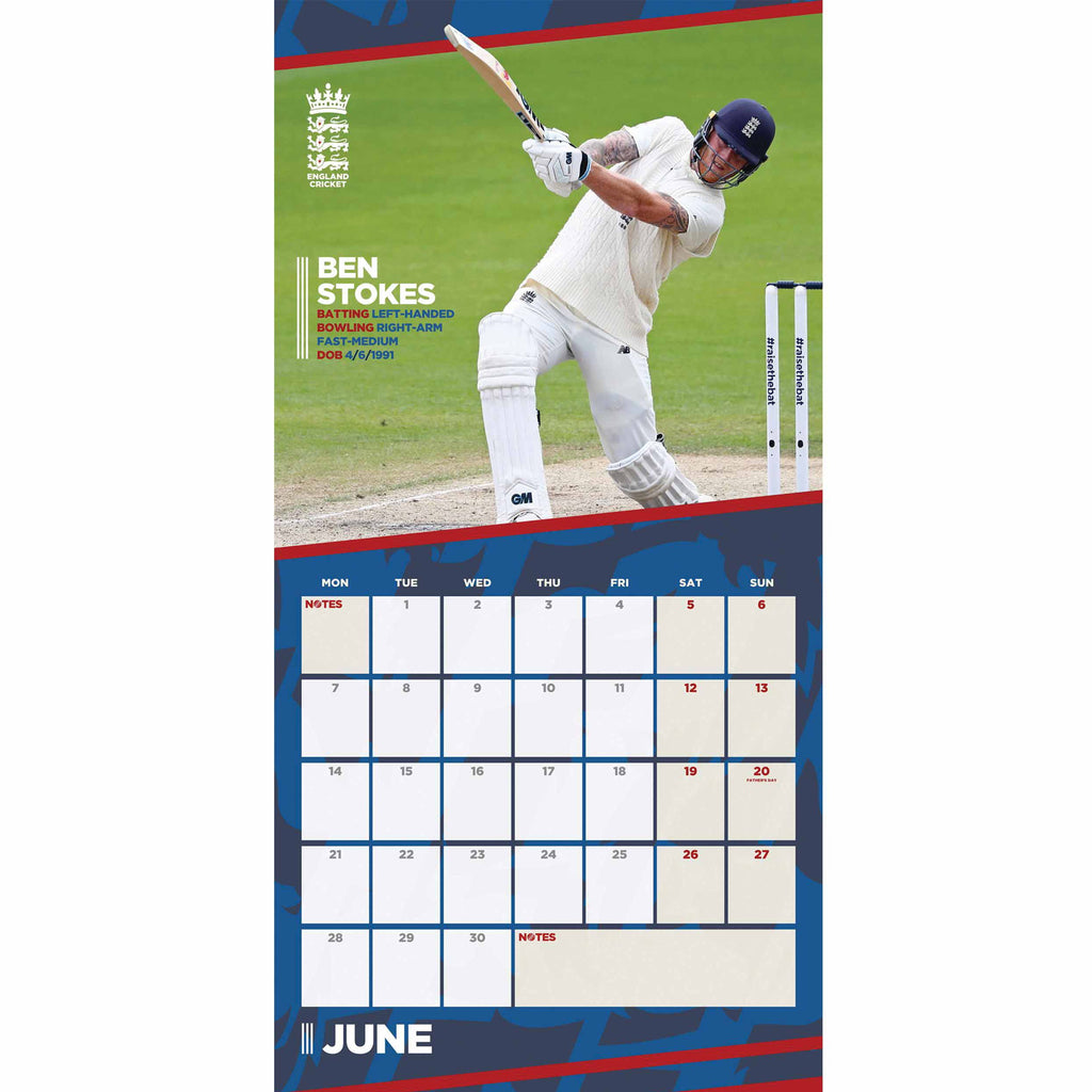 England Cricket Square Official Supporters 2021 Calendar - RRP £9.99