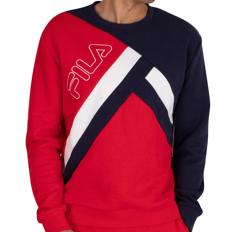 FILA Mens Paco Cut And Sew Striped Sweatshirt