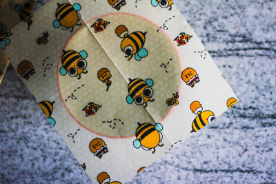 Beeswax Wraps – Pack of 3 - 'Birds and the Bees'