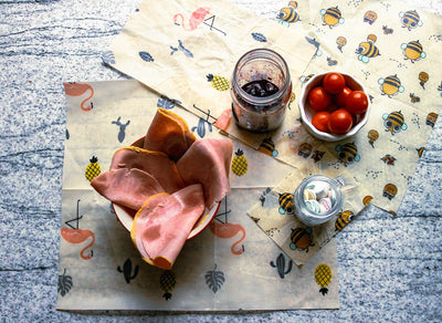 Beeswax Food Wrap – Pack of 3 - 'The Flamingo'