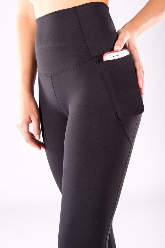 Compression Leggings with cell pocket - black