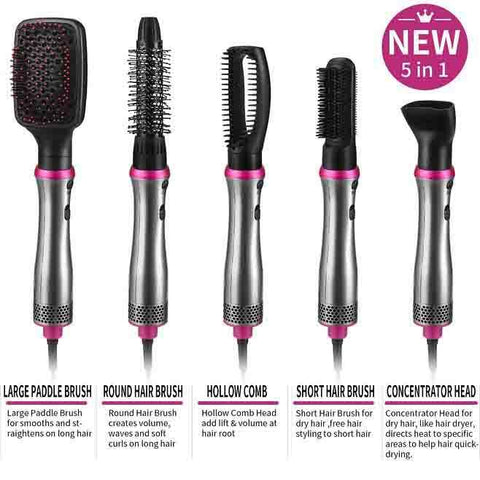 5 In1 Hair Dryer, Hot Air and Hair Brush Volumizer  Set