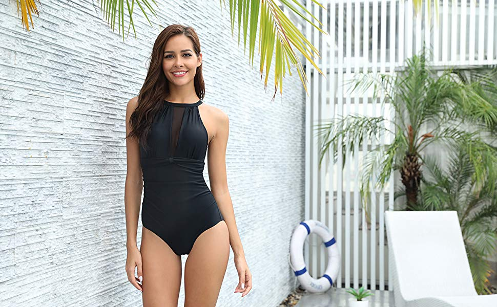High Neck Mesh Ruched Swimsuit- Black