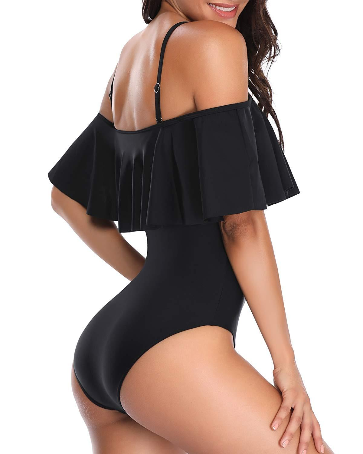 Solid Off Shoulder Flounce One Piece swimsuit- Black
