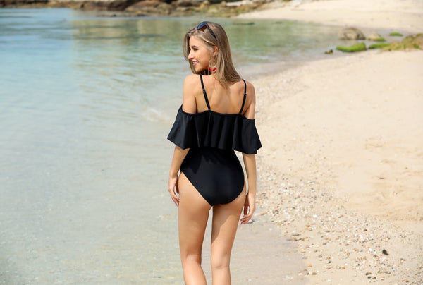 Retro Range-V neck Off Shoulder Ruched Swimsuit- Black