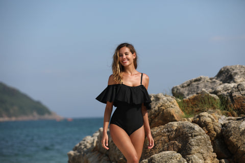 Retro Range-Solid Off Shoulder Flounce One Piece swimsuit- Black