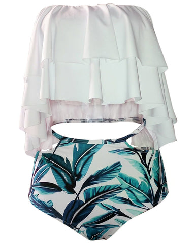 Retro Range- Two Piece Swimsuit High Waisted Off Shoulder Ruffled Bikini Set- Tropical