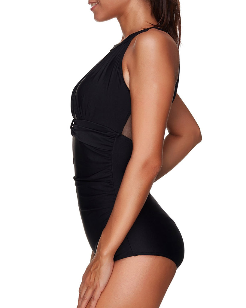 Retro Range-High Neck Mesh Ruched Swimsuit- Black