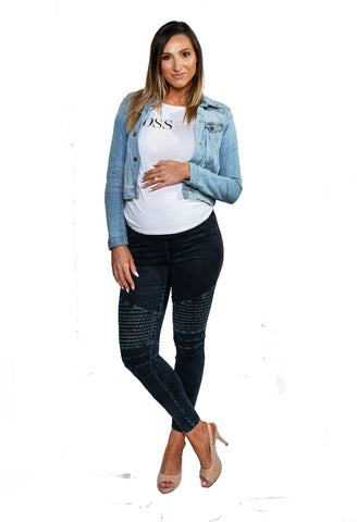 Snugz moto denim maternity leggings- Dark  Black/Blue