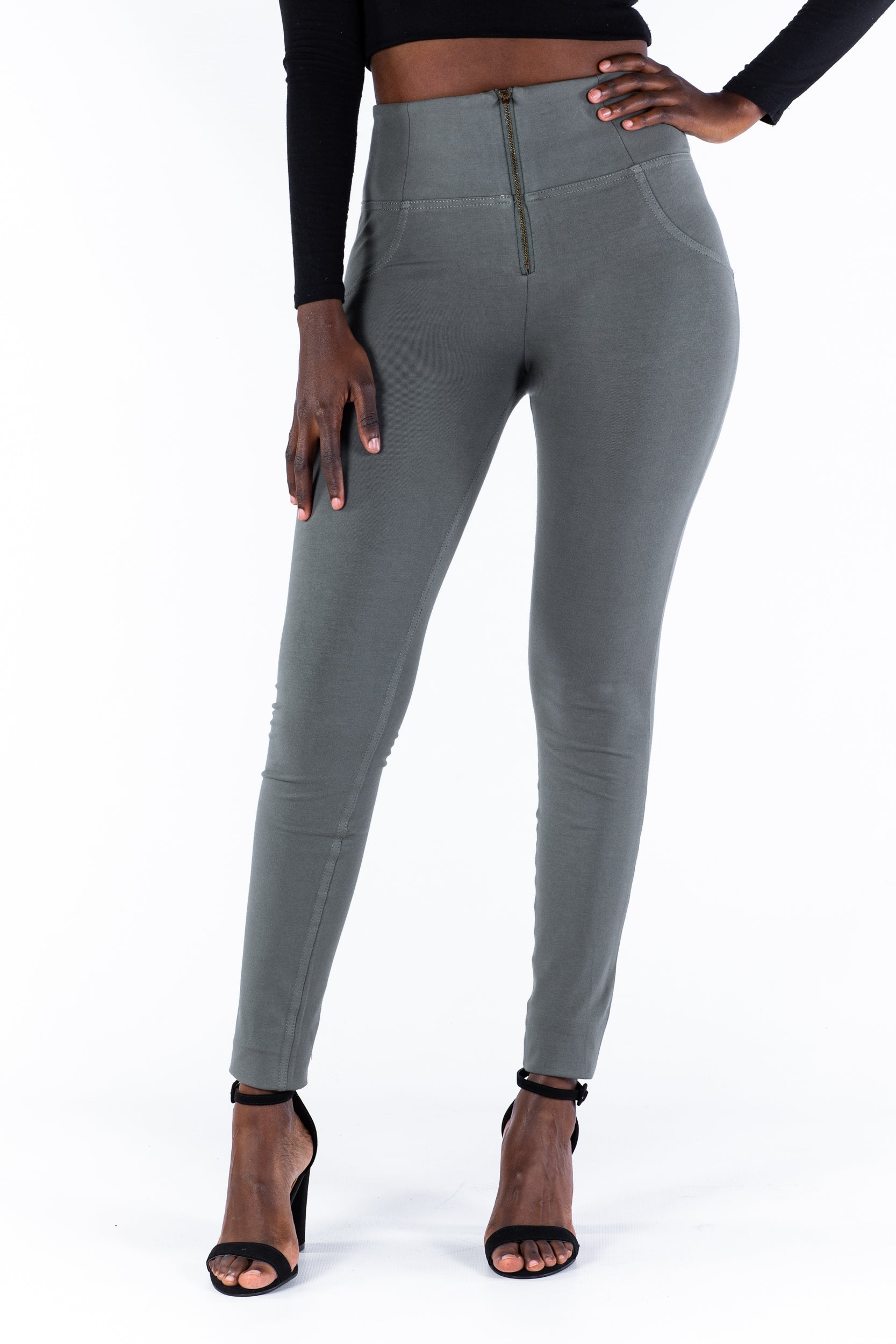 Image of High waist Butt lifting Jeggings - Olive