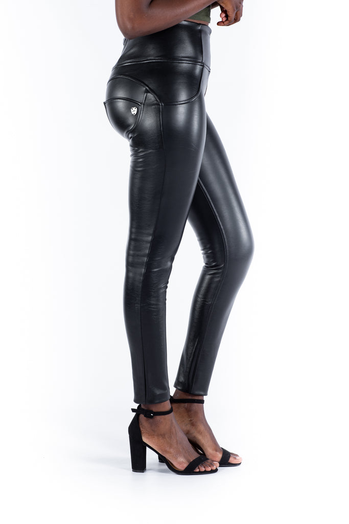 High waist Butt lifting Jeggings - Faux leather black