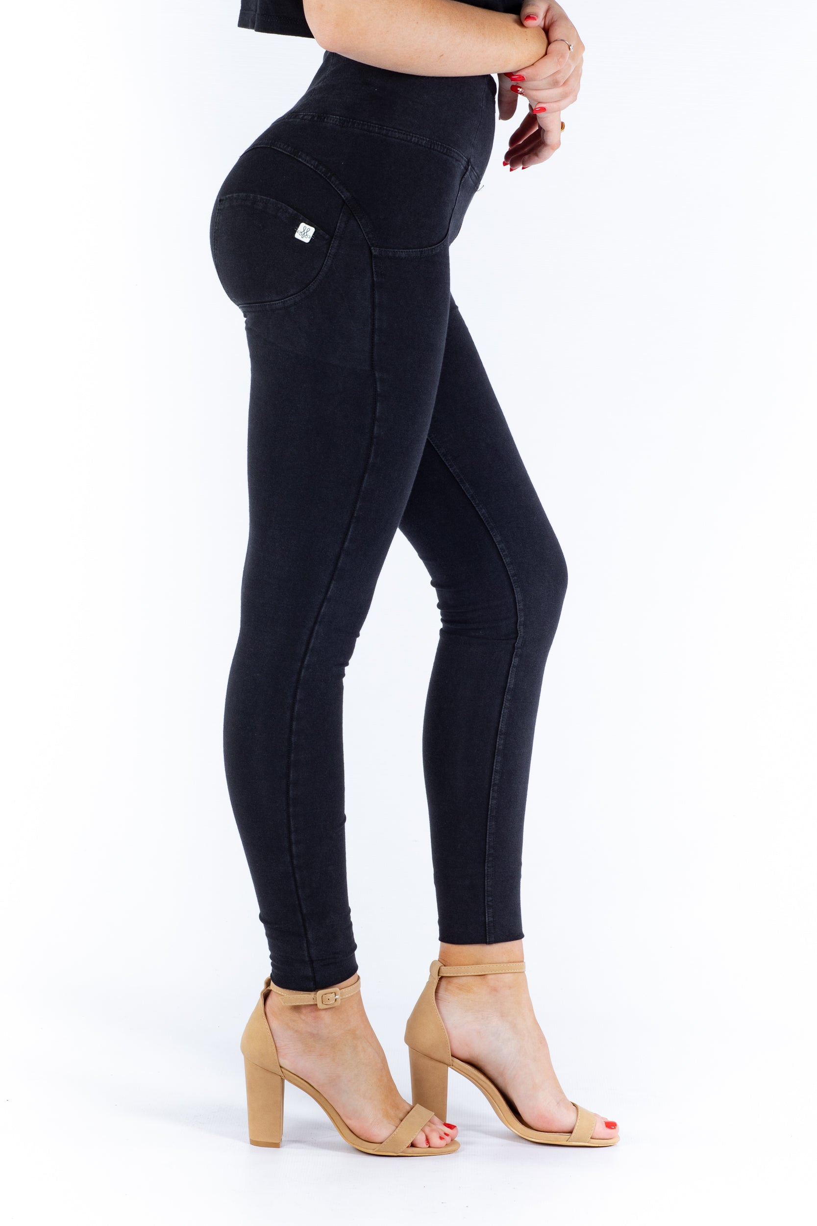 Image of High waist Butt lifting Jeggings - Black Wash Black stitching