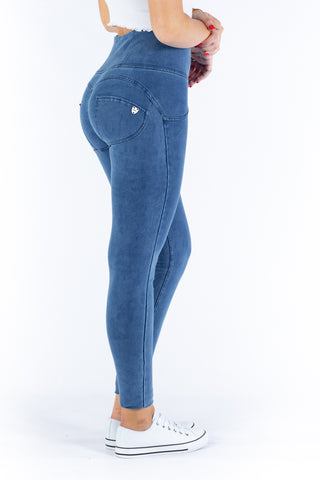 Image of High waist Butt lifting Jeggings - Light Blue (blue stitching)