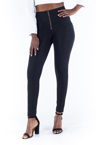 High waist butt Jeggings-Black