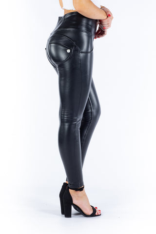 Image of High waist Butt lifting Jeggings - Faux leather black