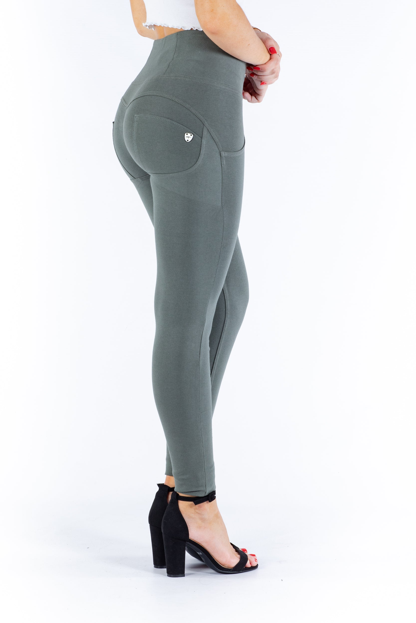 High waist Butt lifting Jeggings - Olive