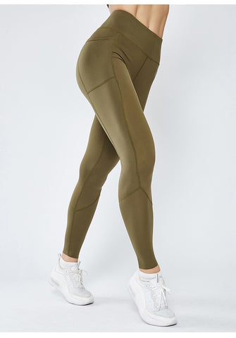 Smoothie Control Leggings with cell pocket - Khaki