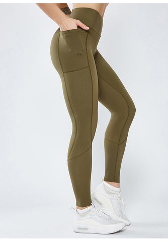 Image of Smoothie Control Leggings with cell pocket - Khaki