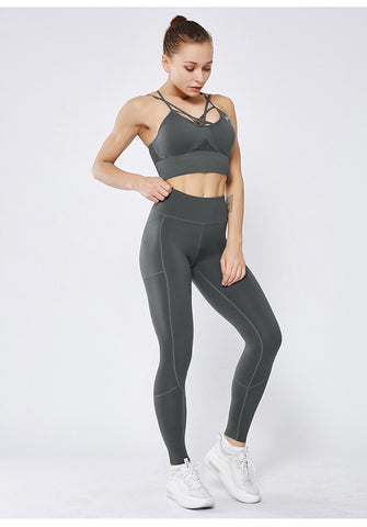 Smoothie Control Leggings with cell pocket - Grey