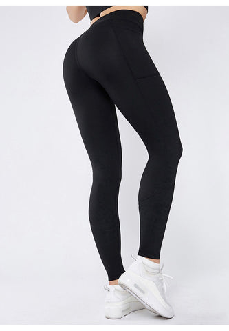 Smoothie Control Black Leggings with cell pocket-Black