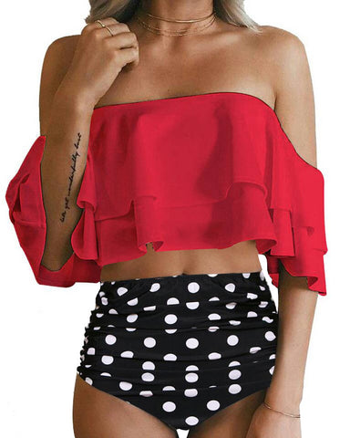 Image of Two Piece Swimsuit High Waisted Off Shoulder Ruffled Bikini Set- Polka dots