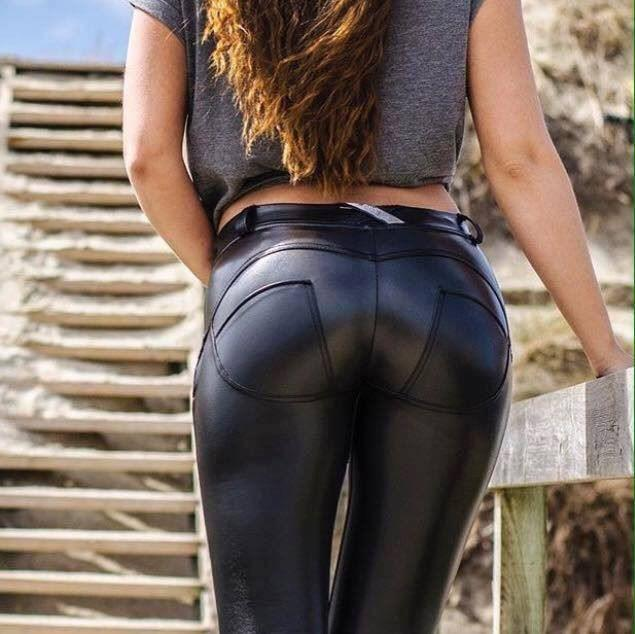 CLEARANCE SALE NO RETURNS -Butt lifting faux leather stretch pants - black
