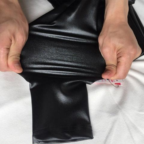 Image of Butt lifting faux leather stretch pants - black