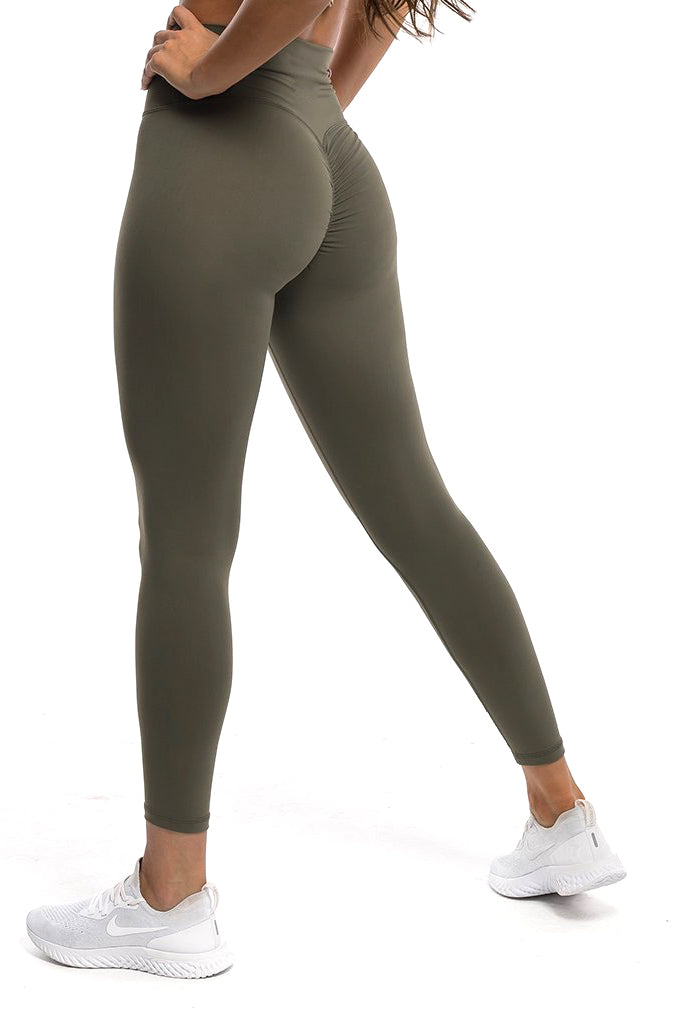 Gym bunny Scrunch -ruching leggings - Olive