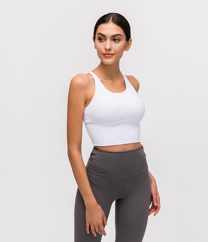 Lux long Sports bra- white