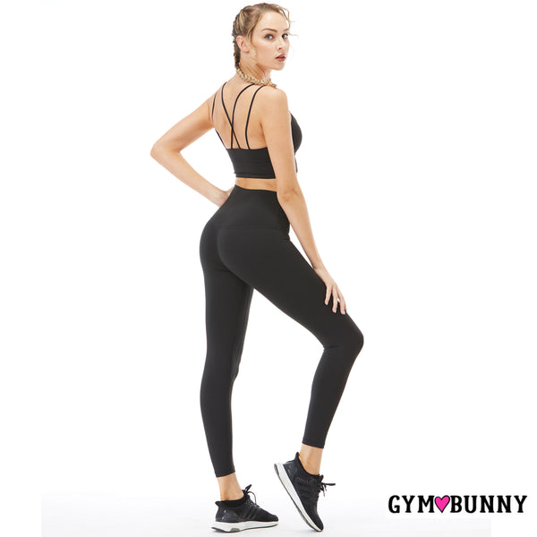 CLEARANCE SALE - NO RETURNS - Gym Bunny -Two Piece Yoga Set- Black active wear