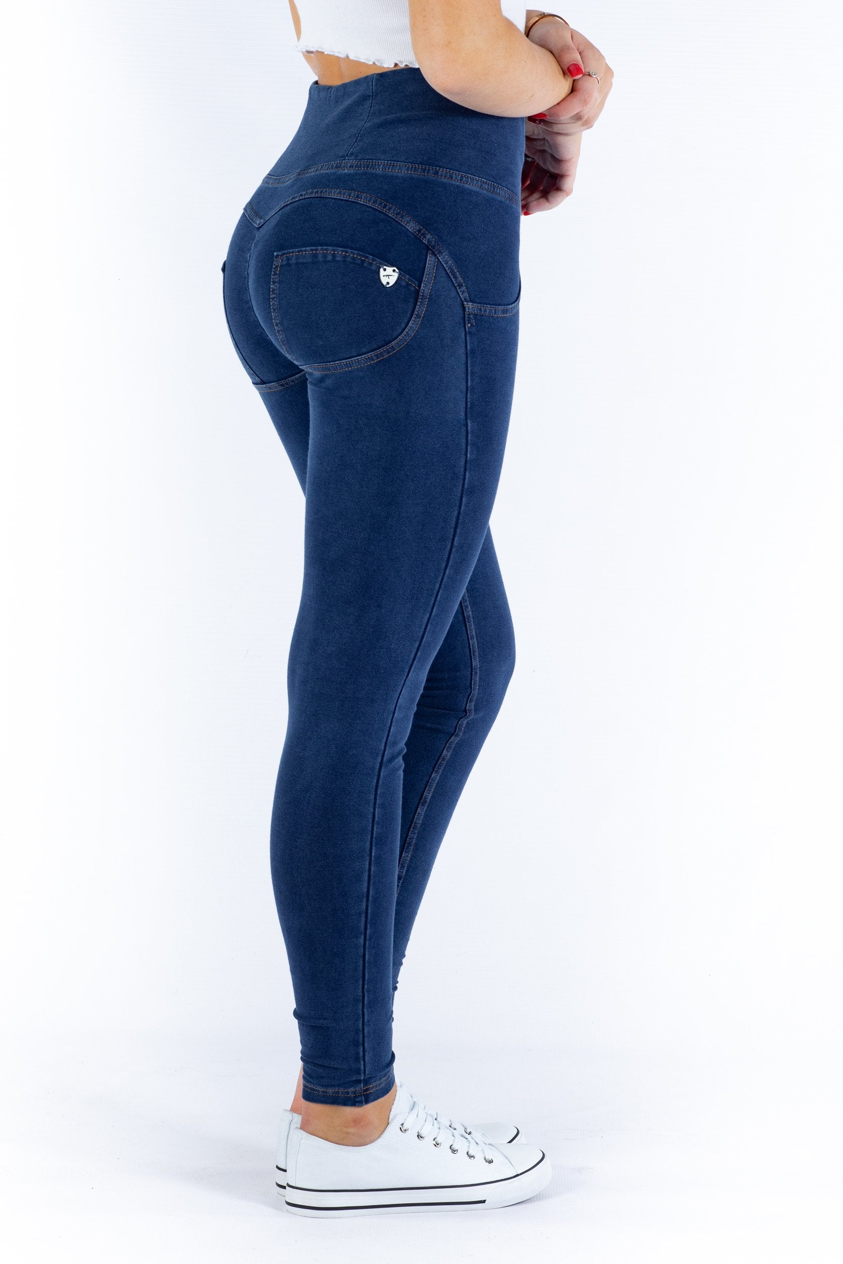 Image of High waist Butt lifting Jeggings - Dark Blue