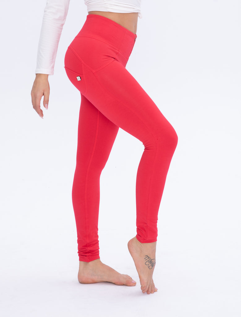 High waist Butt lifting Jeggings - Coral Red
