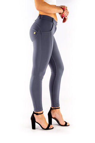 Image of Low waist hipster -Butt lifting Jeggings -  Silky soft Spandex Dove Grey Blue
