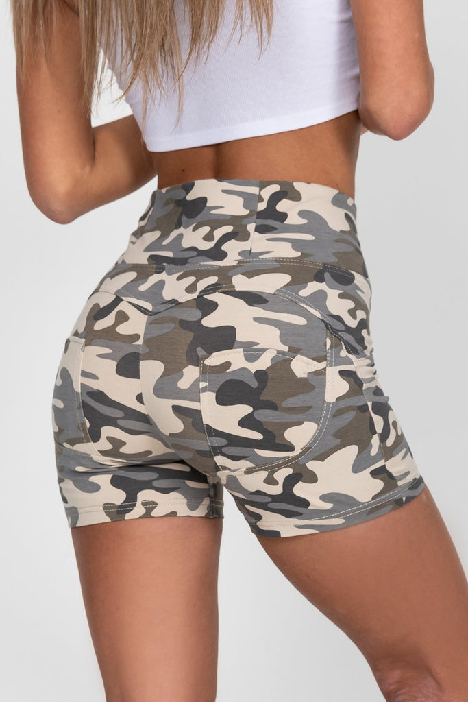 High waist Butt lifting shorts - Sandy Camo